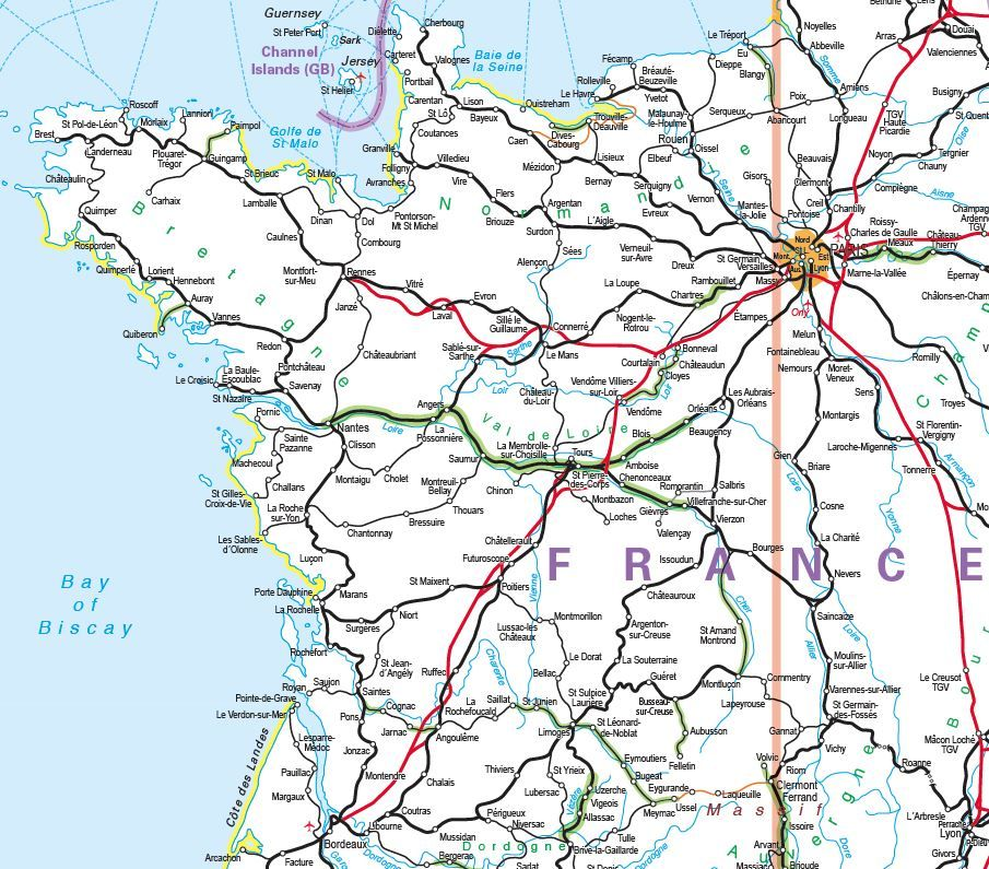 Europe Rail Map Printed Rail Map of Europe